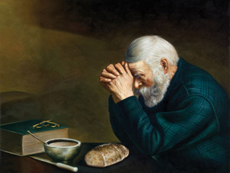 Male-Portrait-Art-Handmade-Oil-Painting-Reproduction-on-Canvas-Grace-Daily-Bread-Old-Man-Praying-Home